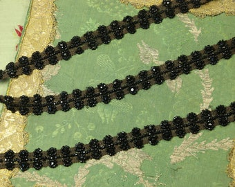 """1 yard Antique glass beaded trim fabulous intricate cotton twill base flapper Victorian black mourning wear millinery hat flapper dress 5/8"""""""
