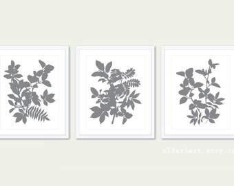 Leaves Art Print -  Set of 3 Prints - 5x7 or 8x10 - Botanical Wall Art - Tropical Leaves Wall Art - Grey Leaf Art - Modern Prints