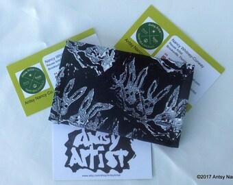 White rabbits ID wallet business card holder reuse vegan hand printed white rabbits om black background cotton