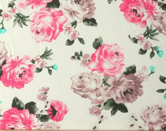 Cream Fuchsia and Aqua Floral Rayon Spandex Jersey Knit Fabric, 1 Yard