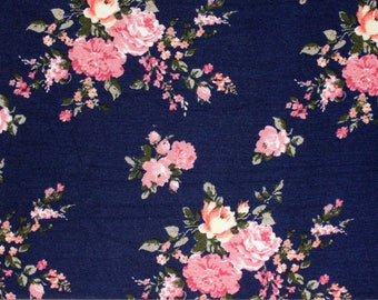 Navy Pink Coral and Olive Floral Rayon Spandex Jersey Knit Fabric, 1 Yard