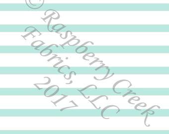 Mint and White Stripe 4 Way Stretch FRENCH TERRY Knit Fabric, Club Fabrics