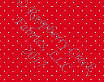 Red and White Pin Polka Dot 4 Way Stretch FRENCH TERRY Knit Fabric, Club Fabrics