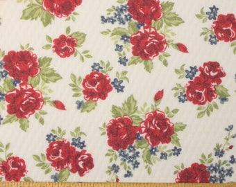 Vintage Look Red Teal and Green Rose Floral Diamond Quilted Jacquard Knit, 1 Yard