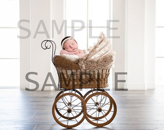 Digital newborn carriage prop