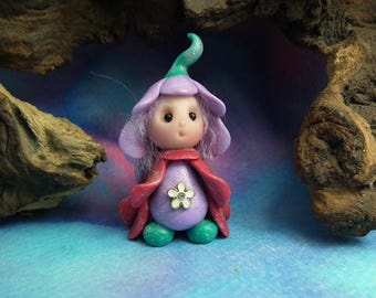 """20% off with Coupon Code: MICROGNOME20 Tiny 'Flowelle' Blossom Gnome 1+1/2"""" by Sculpture Artist Ann Galvin Art Doll"""