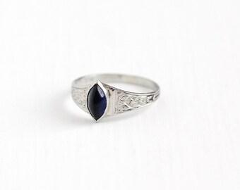 Vintage Simulated Sapphire 10K White Gold Ring - 1920s Size 1/2 Art Deco Dark Blue Marquise Glass Stone Midi Children's Baby Fine Jewelry