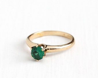 Sale - Vintage 14k Rosy Yellow Gold Created Green Spinel Ring - Late Art Deco 1940s Size 6 1/4 Simulated Emerald Solitaire Fine May Jewelry