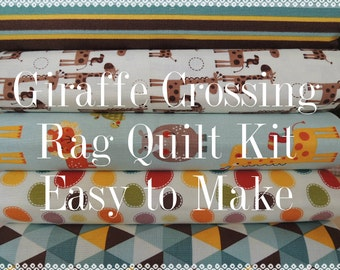 Rag Quilt Kit, Giraffe Crossing 2, Kit 3, Super Simple to Make, Personalized, Bin A, Optional Sewing Available