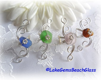 Sea Glass Ear Cuff Beach Glass Ear Cuff