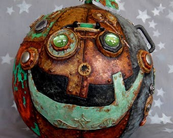 """Oh So Steampunk, foiled, painted gourd art, embellished, 11"""" tall x 11 1/2"""" diameter"""