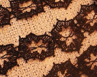 Antique Black Spiderweb Look Beaded Trim Adornment Victorian Mourning Dress Lace Trim