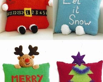 Santa  Snowman  Xmas Tree  Rudolph Reindeer Christmas Novelty Cushions Knitting Pattern DK & Chunky Original KNITTING PATTERN