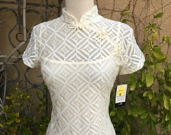 Vintage 1980s New old stock Cream sheer cheongsam wiggle Chinese mandarin collar cocktail dress size S