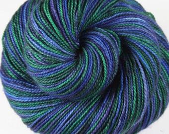 BLUES & GREENS: OOAK - One of a kind - Superwash Merino Wool-Nylon - Self-Striping - Fingering / Sock Weight Yarn - Hand dyed sock yarn