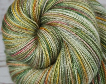 CHINESE GARDEN: Superfine Merino-Silk - Lace Weight Yarn - 875 yards - Hand dyed lace yarn - Indie dyed variegated lace - Green lace yarn