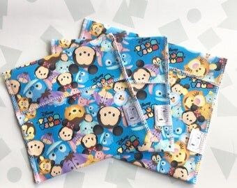 Reusable Ecofriendly Sandwich Bag and Snack Bags - tsum tsums - set of 3
