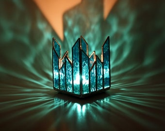 Glass Candle Holder Turquoise Blue Votive Holder