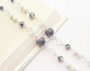 Eyeglass Holder Necklace Blue and White Chinese Beads and Clear Crystal, Eyeglass Lanyard, Artisan Eyeglass Chain, Eyewear