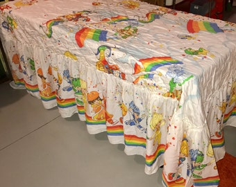 vintage 1983 American Greetings Rainbow Brite single bedspread with giant dust ruffle