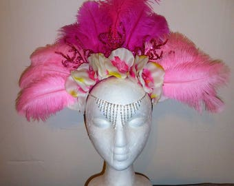 Cosmos and Cotton Candy Feather Flower Crown Headdress