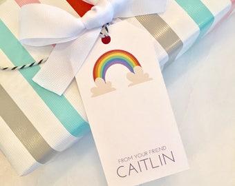 Girls Rainbow Gift Tags Favor