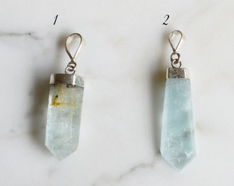 Aquamarine Necklace, Sterling Silver, Crystal Necklace 1216C