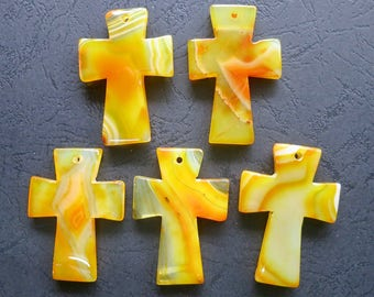Close Out- AS PICTURED- 5pcs Large Yellow Agate Cross Pendant 35x50mm- top drilled