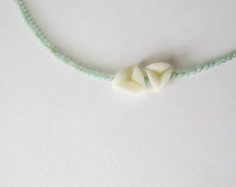 Cream flower petal between amazonite, dainty chic necklace with minimal polymer clay elements