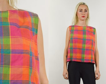PINK PLAID BLOUSE. Button Closure Back. Pink Yellow Blue Plaid. Sleeveless.  80's 90's Mod Hipster. Size Small S/M -Check Large Print