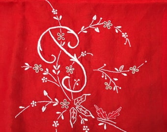 Monogramed scarf, initial P hand rolled edge, cherry red and white embroidered, great gift personal, 25x26 1950's super soft