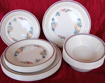 Set of 24 Vintage Beige Corelle ABUNDANCE 8 Each Dinner Plates, Luncheon Plates, and Soup Bowls in Excellent Condition
