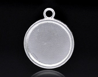 3 Piece Bright Silver Cameo Cabochon Setting Bezel 28 mm Fits 20mm Cabochons