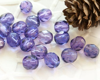 Czech Fire Polished Beads 6 mm Violet 20 pcs
