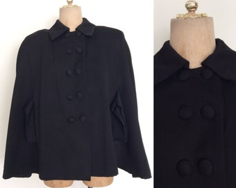 1940's Exaggerated Shoulders Black Wool Cape w/ Double Breasted Buttons