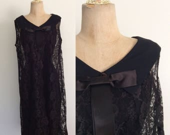 1960's Black Crepe Dress w/ Lace Overcoat Size XS Small by Maeberry Vintage