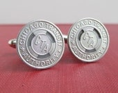 CHICAGO Transit Token Cuff Links - Vintage Repurposed Coins - CTA