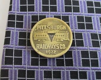PITTSBURGH Railways Token Tie Tack / Lapel Pin - Repurposed Vintage Coin, Brass / Gold Tone