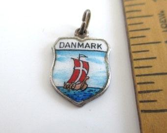 Danmark 835 Sterling Silver Travel Shield Charm - Vintage Enameled Denmark