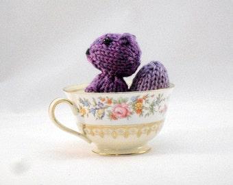 Hand Knit Squirrel. Purple Squirrel Toy. Squirrel Stuffie. Woodland Plushie. Pretend Play. Pocket Pal. Ready To Ship. Gifts Under 10
