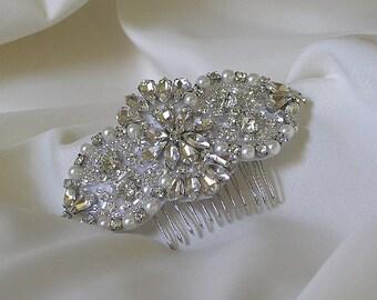Wedding Hair Comb, Rhinestone Bridal Hair Comb, Jeweled Pearl Bridal Headpiece, Wedding Headpiece, Pearl Crystal Bridal Headband, No. 4065HB