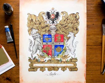 "Original Family Crest or Custom Coat of Arms - 11"" by 14""  art on watercolor paper with gold leaf"