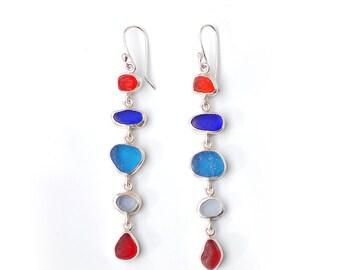 Very Long Red and Blue Five Drop Sea Glass Earrings in Silver bezel set