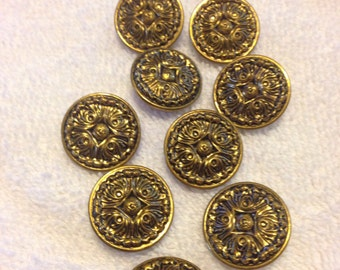 Vintage Detailed Metal Shank Buttons