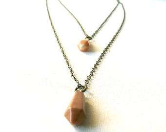 Orange and brown red point stone necklace ( pendulum, mermaid, gemstone, pumpkin ) 02