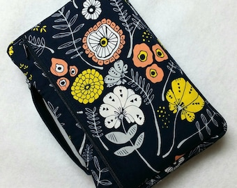 Bible Cover Modern Flowers on Navy