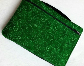 Bible Cover Emerald Green with Swirls