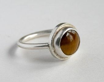 Tiger's eye ring in silver