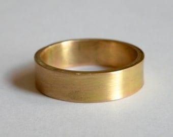 Rustic handmade 14 K gold band mens or womens