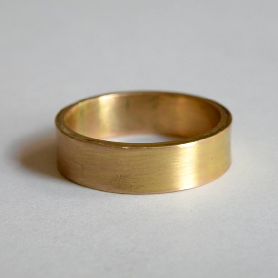 Rustic handmade 14 K gold band - custom one of a kind wedding band